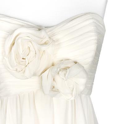 off shoulder shirring dress white 1